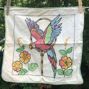 pillow sham painted embroidered bird parrot